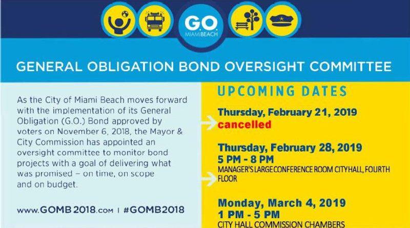 Miami Beach G.O. Bond Oversight Committee meeting schedule